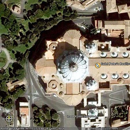 st. peters basillica Google Earth and Virgin Eyes